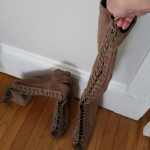 Open toe lace up over the knee boots